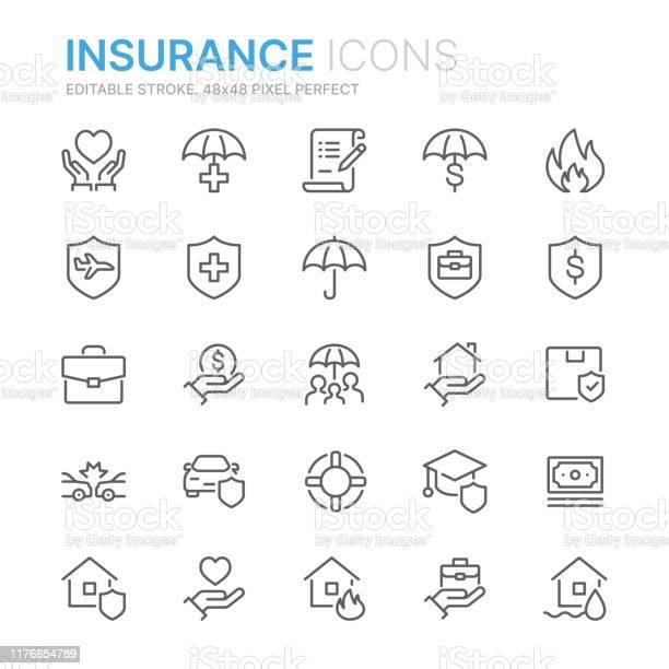 Collection Of Insurance Related Line Icons 48x48 Pixel Perfect Editable Stroke - Arte vetorial de stock e mais imagens de Acaso