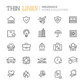 Collection of insurance thin line icons. Vector eps 10