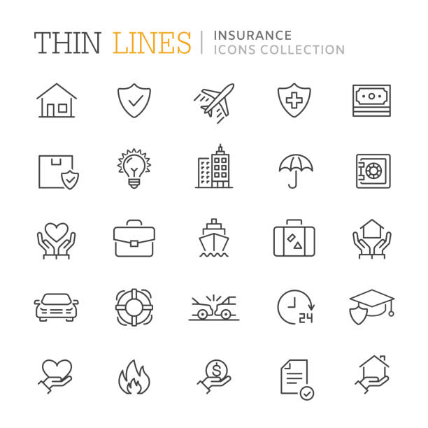 collection of insurance thin line icons. vector eps 10 - insurance stock illustrations