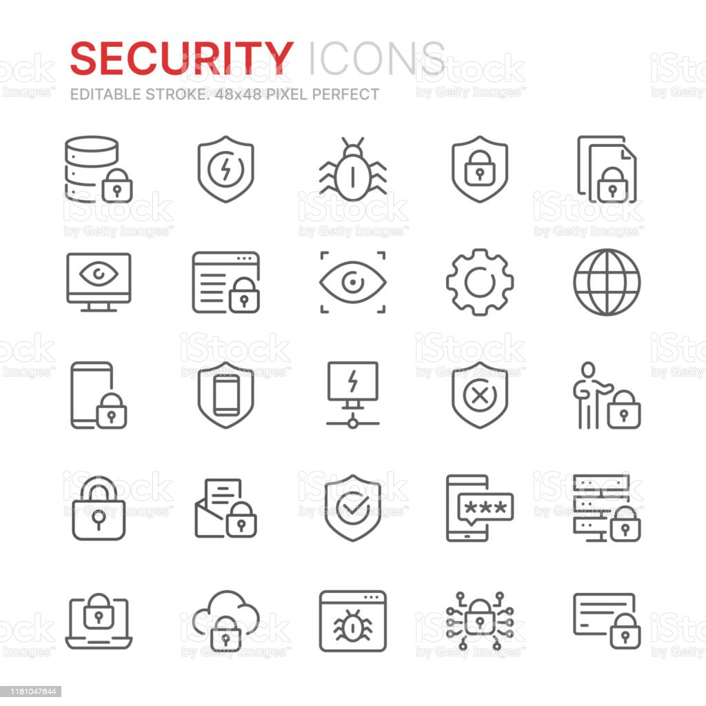 Collection of internet security related line icons. 48x48 Pixel Perfect. Editable stroke - Royalty-free Acessibilidade arte vetorial