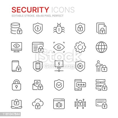 Collection of internet security related line icons. 48x48 Pixel Perfect. Editable stroke