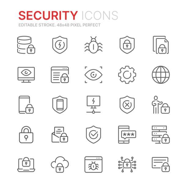 illustrazioni stock, clip art, cartoni animati e icone di tendenza di raccolta di icone di linea relative alla sicurezza internet. 48x48 pixel perfetto. tratto modificabile - protezione