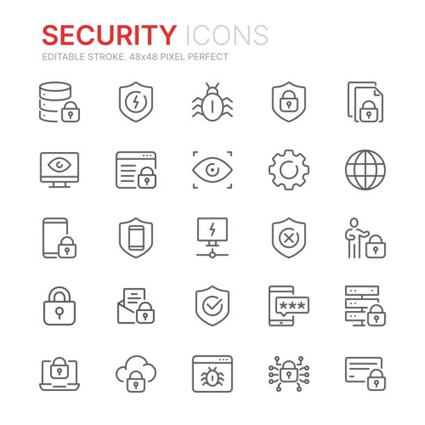 ilustrações de stock, clip art, desenhos animados e ícones de collection of internet security related line icons. 48x48 pixel perfect. editable stroke - seguros