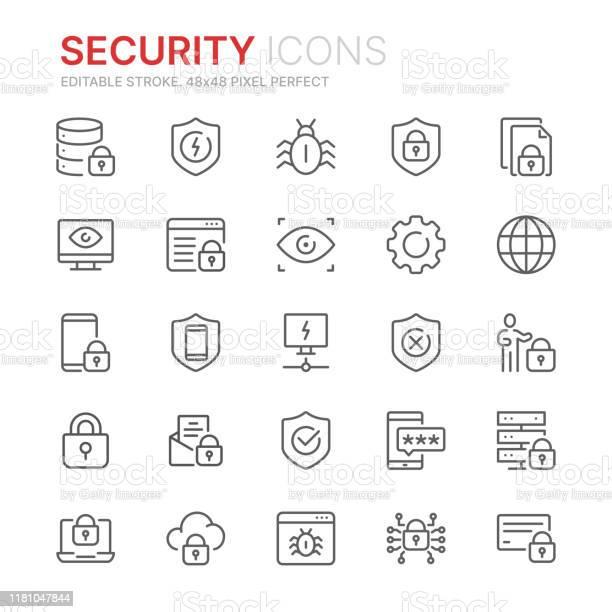 Collection Of Internet Security Related Line Icons 48x48 Pixel Perfect Editable Stroke - Arte vetorial de stock e mais imagens de Acessibilidade