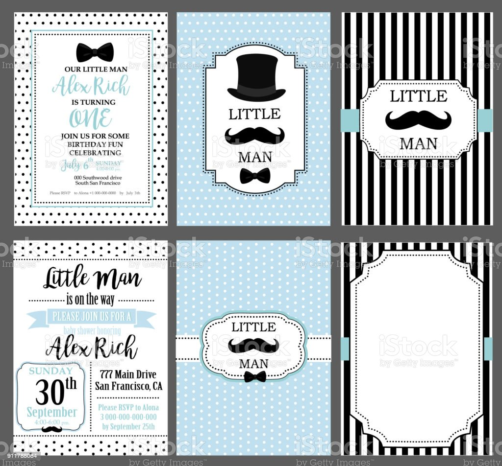 Collection of invite cards can be use for party(baby shower, father's day, wedding, birthday) vector art illustration