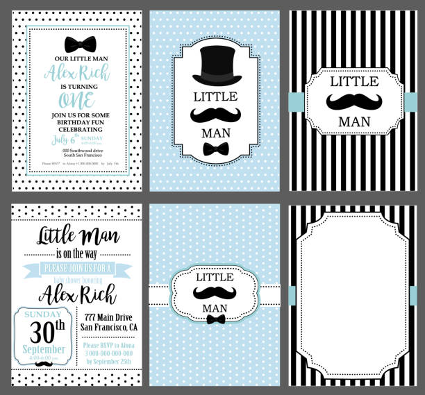 collection of invite cards can be use for party(baby shower, father's day, wedding, birthday) - chłopcy stock illustrations