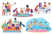 Collection of isolated groups of people spending leisure time together. Friends taking selfie, playing guitar, singing, playing chess, watching movie or TV, diving cartoon vector illustration