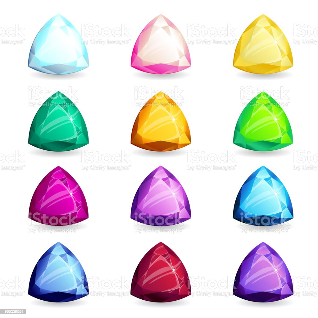 A Collection Of Isolated Realistic Triangleshape Of Precious Stones