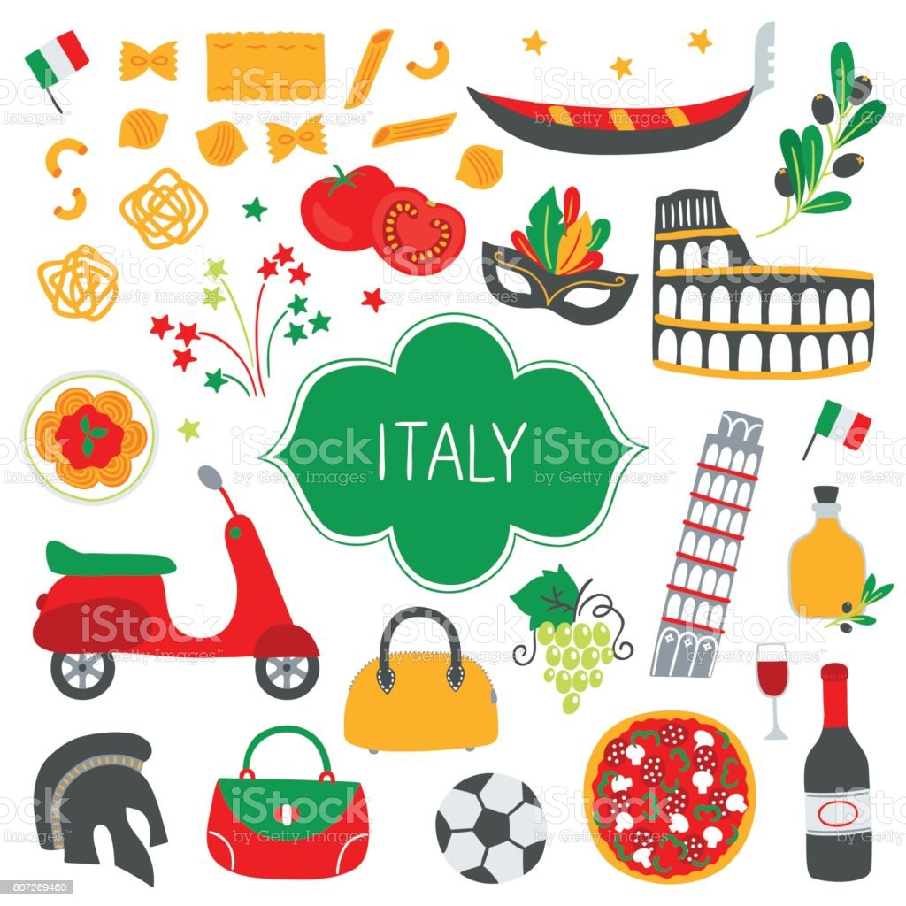 Collection of Italian design elements vector art illustration