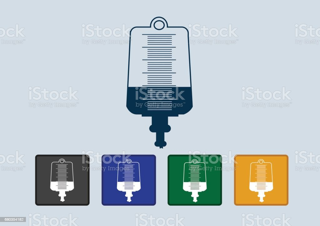 Collection of iv bag icon vector art illustration