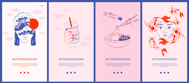 Collection of Japanese illustrations for stories templates