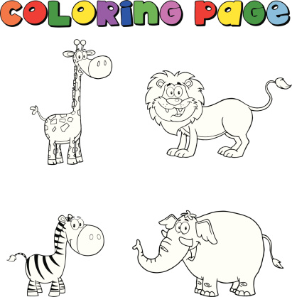Collection Of Jungle Animals Coloring Page Stock Illustration Download Image Now Istock