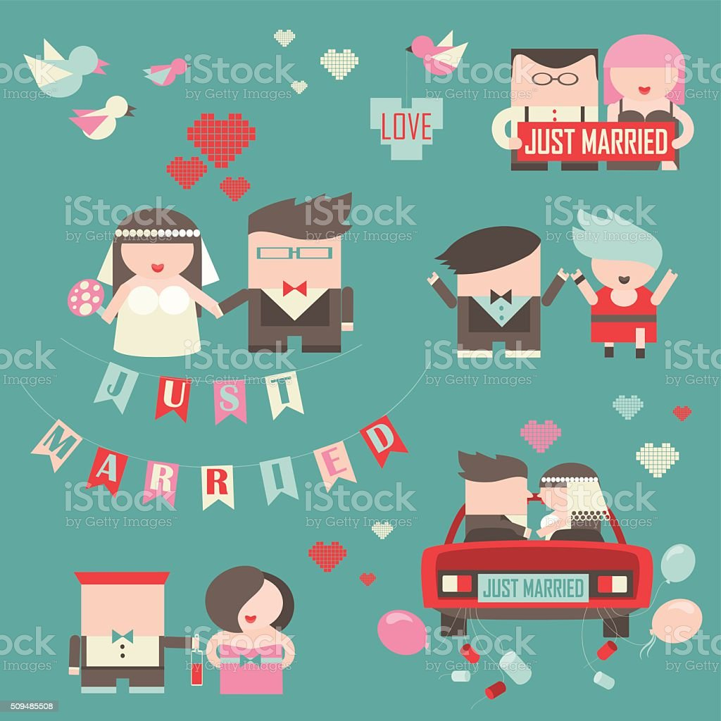 Collection of just married couples vector art illustration