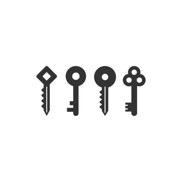 ilustrações, clipart, desenhos animados e ícones de coleção chaves logotipo ícone gráfico do modelo de design - chave