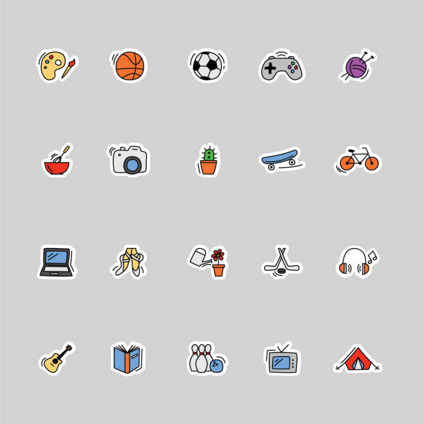 collection of kids hobbies icons vector art illustration