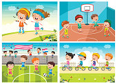 Collection Of Kids Making Various Sports