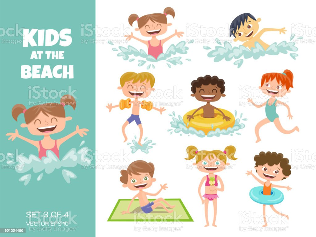 Collection of kids playing at the beach. vector art illustration