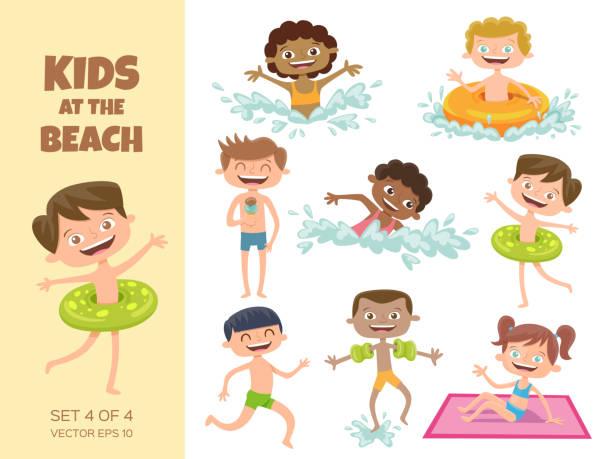 ilustrações de stock, clip art, desenhos animados e ícones de collection of kids playing at the beach. - jump pool, swimmer