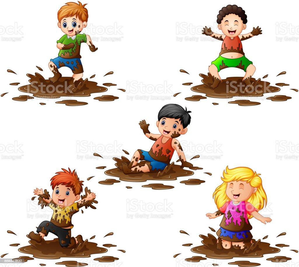 Collection des enfants qui jouent dans la boue - Illustration vectorielle