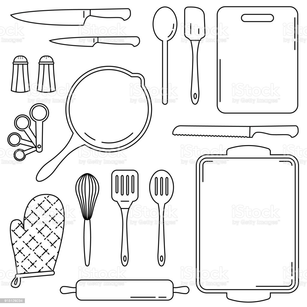 Collection of kitchen and culinary tools - vector line art vector art illustration