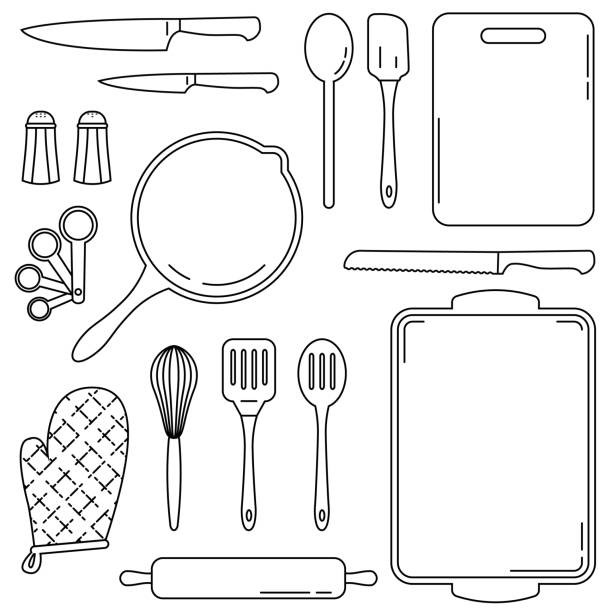 Collection of kitchen and culinary tools - vector line art Kitchen tools and equipment for cooking and baking. Collection of vector line art illustrations of common culinary accessories for kitchens and restaurants. cooking black and white stock illustrations