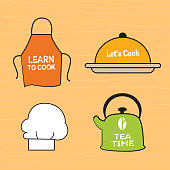 "Collection of kitchen elements design. Vector design""r"
