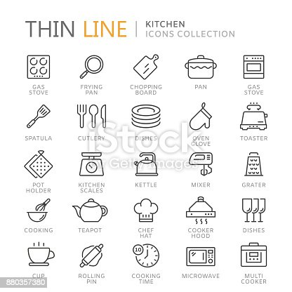 Collection of kitchen thin line icons. Vector eps 8
