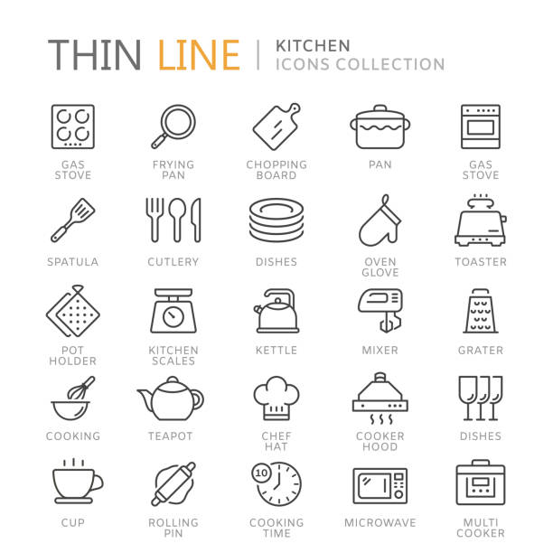 Collection of kitchen thin line icons Collection of kitchen thin line icons. Vector eps 8 cooking icons stock illustrations