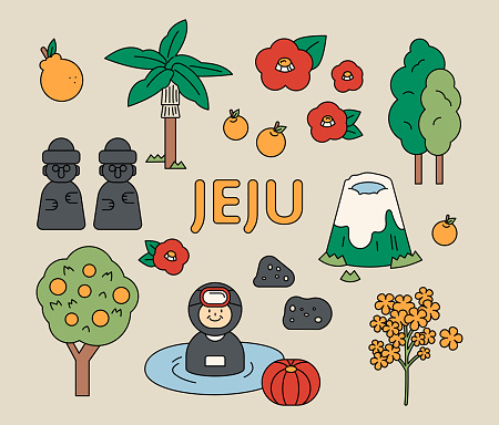 Collection of Korean Jeju Island tourism icons.