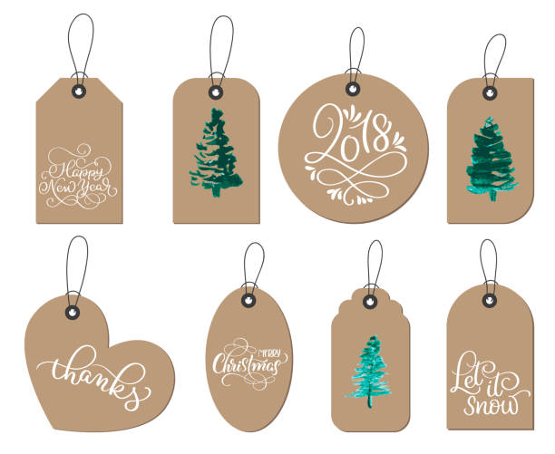 collection of kraft paper christmas gift tags. Calligraphy lettering hand made text. Vector illustration EPS10 vector art illustration