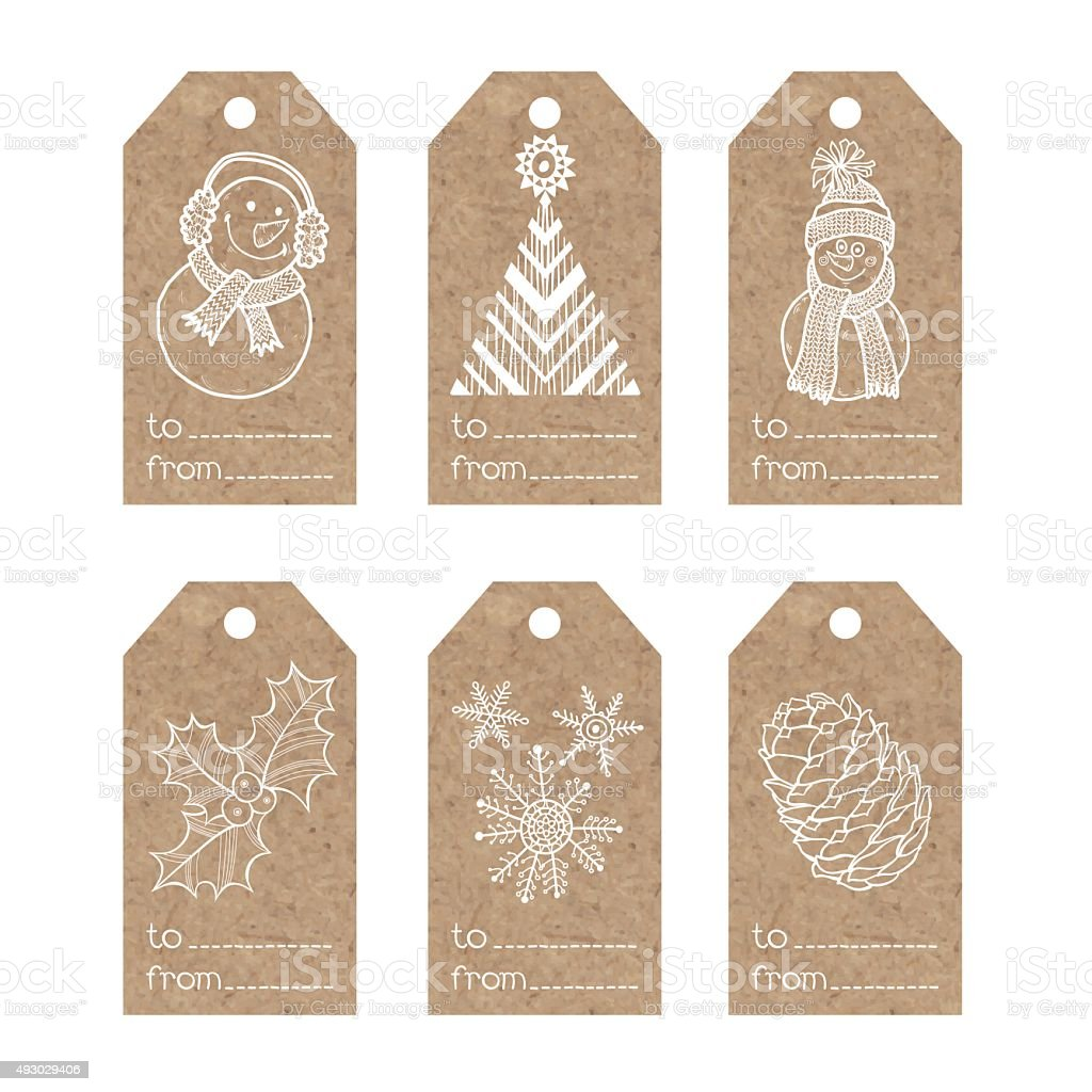 Collection of  kraft paper tags with  christmas motifs vector art illustration