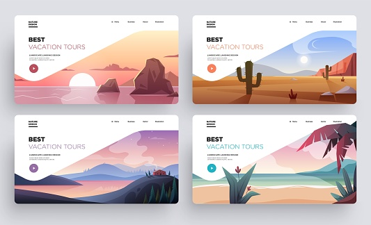 Collection of landing page templates. Modern landscape backgrounds. Best vacation tours commercial