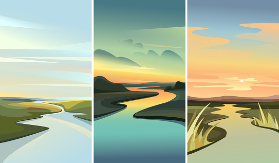 Collection of landscapes with river running among hills. Beautiful nature sceneries.