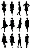 Collection of latin woman dancer silhouettes with flounce sleeves dress in different poses