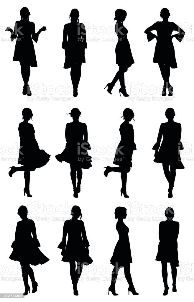 Collection of latin woman dancer silhouettes with flounce sleeves dress in different poses vector art illustration