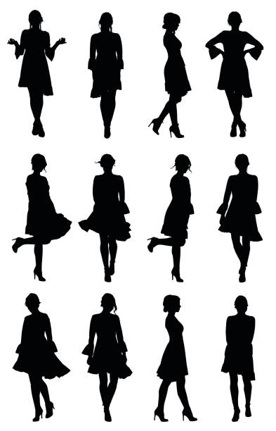 Collection of latin woman dancer silhouettes with flounce sleeves dress in different poses Collection of latin woman dancer silhouettes with flounce sleeves dress in different poses. Easy editable layered vector illustration. beautiful woman stock illustrations