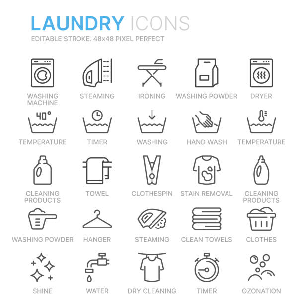 collection of laundry line icons. 48x48 pixel perfect. editable stroke - bleach stock illustrations