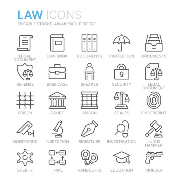 Collection of law and justice line icons. 48x48 Pixel Perfect. Editable stroke Collection of law and justice line icons. 48x48 Pixel Perfect. Editable stroke courthouse stock illustrations