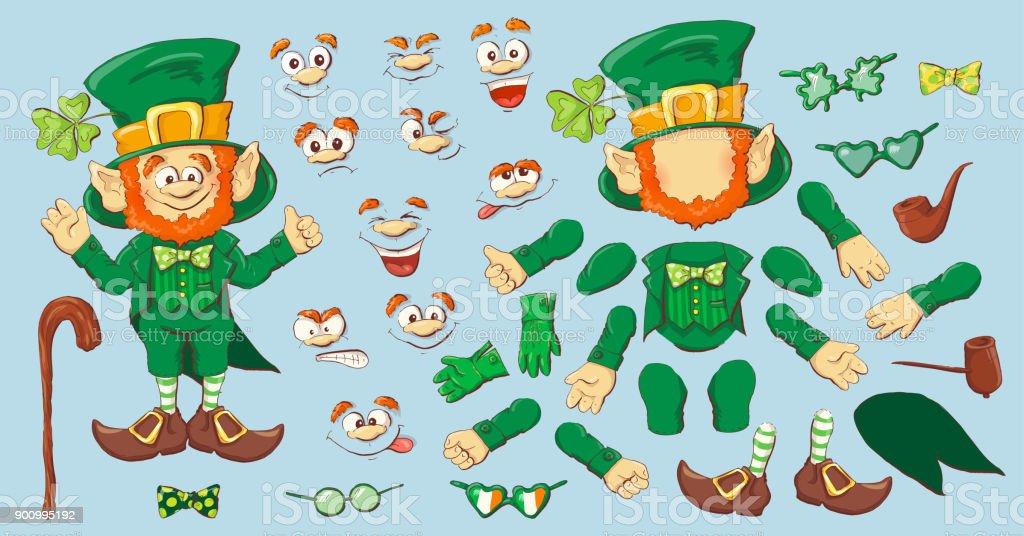 Collection of Leprechaun for Saint Patricks design. vector art illustration