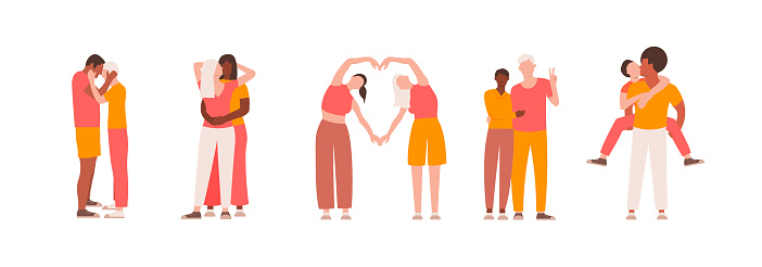 Collection of LGBT people in different pose. Romantic couples men and women on isolated white background. Flat vector illustration.
