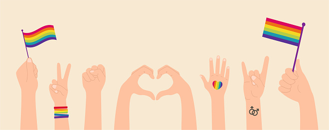 Collection of LGBTQ community symbols clipart isolated