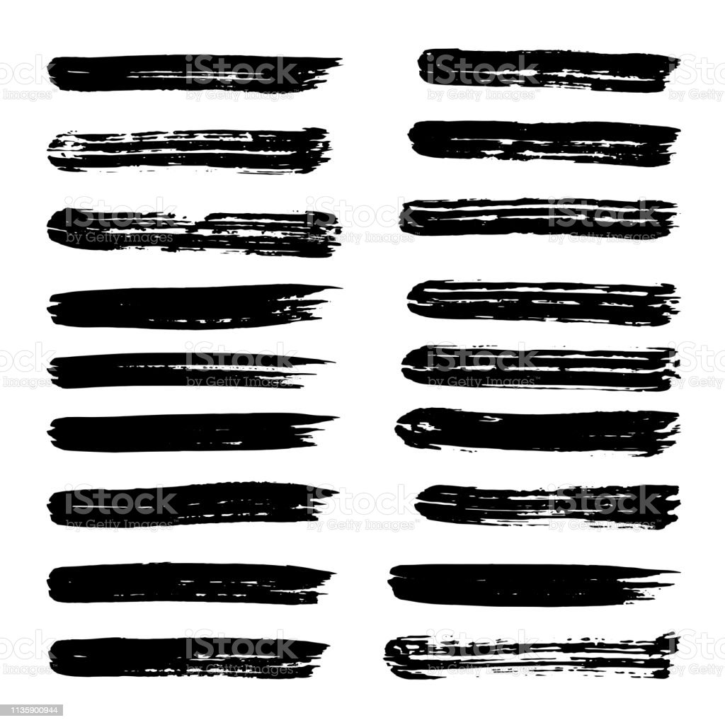 Collection Of Line Hand Drawn Trace Brush Strokes Black Paint Texture Set  Vector Illustration Isolated On White Background Calligraphy Brushes High