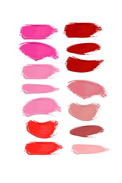 ilustrações de stock, clip art, desenhos animados e ícones de collection of lipstick smears on white background - make up