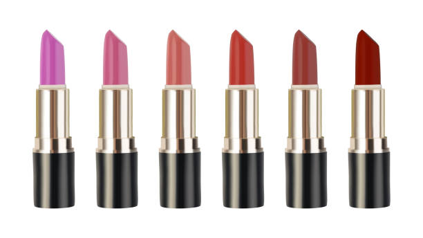 illustrazioni stock, clip art, cartoni animati e icone di tendenza di collection of lipsticks realistic vector illustration - rossetto