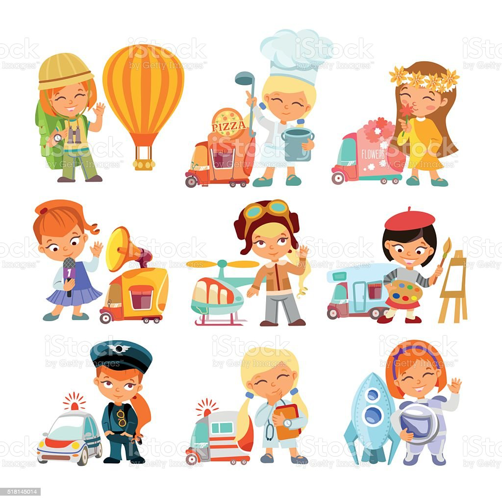Collection of little girls in various professions with vehicles. vector art illustration