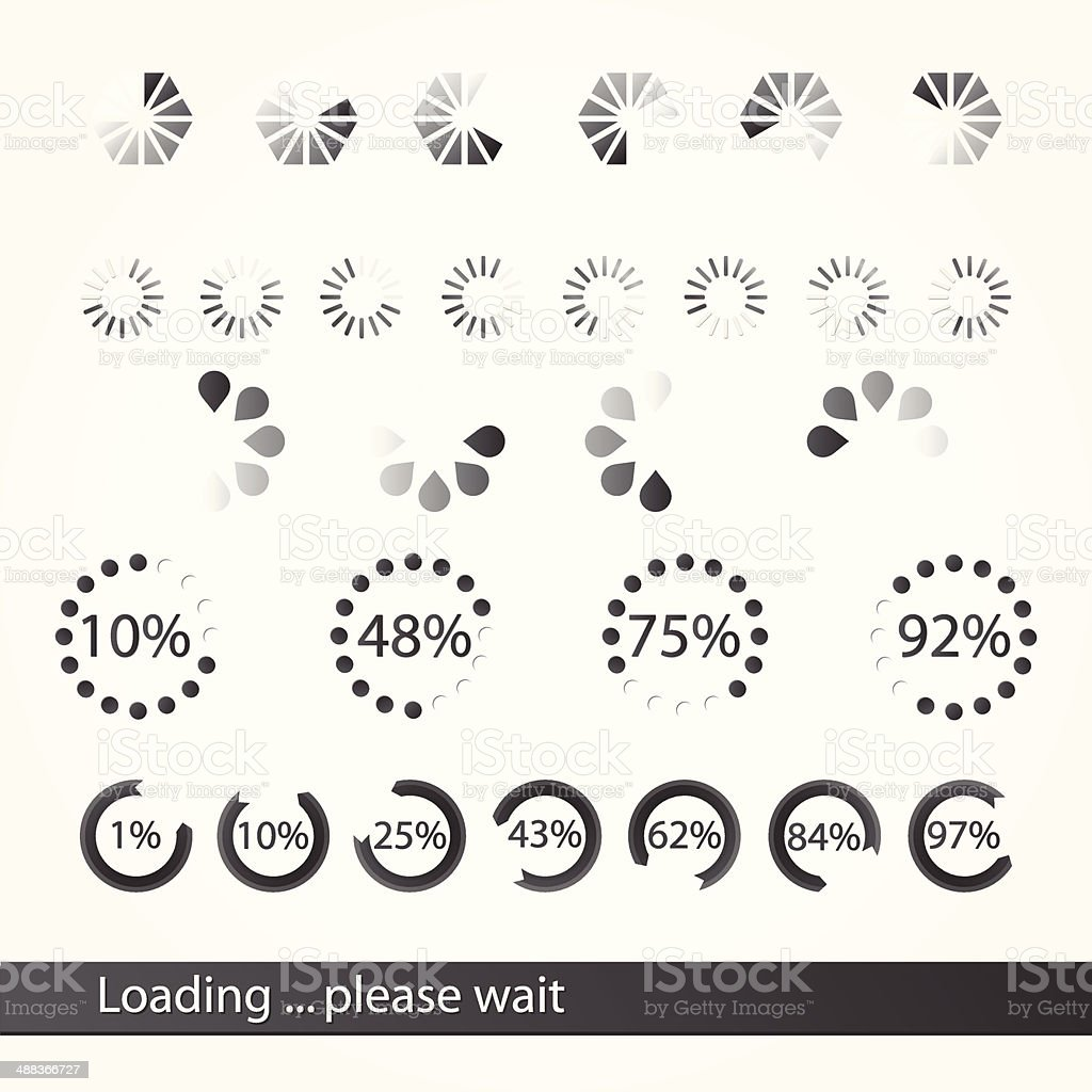Collection of loading icons vector art illustration