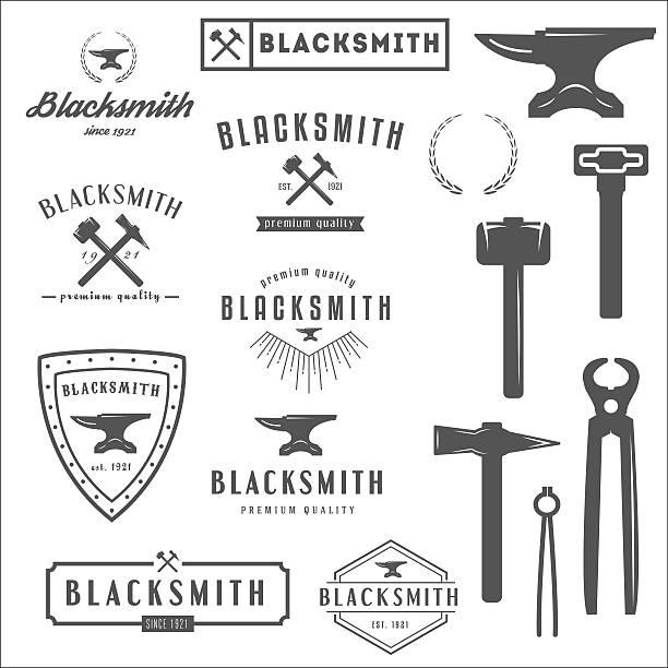 sammlung von logo-elemente und logotypes für schmied oder kaufen - metallverarbeitung stock-grafiken, -clipart, -cartoons und -symbole
