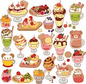 Collection of lovel sweet dessert doodle icon, cute ice cream