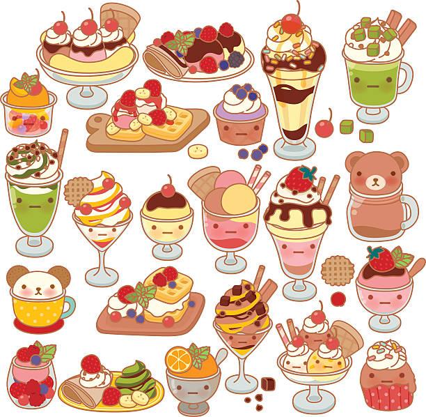 collection of lovel sweet dessert doodle icon, cute ice cream - wackelpuddingkekse stock-grafiken, -clipart, -cartoons und -symbole