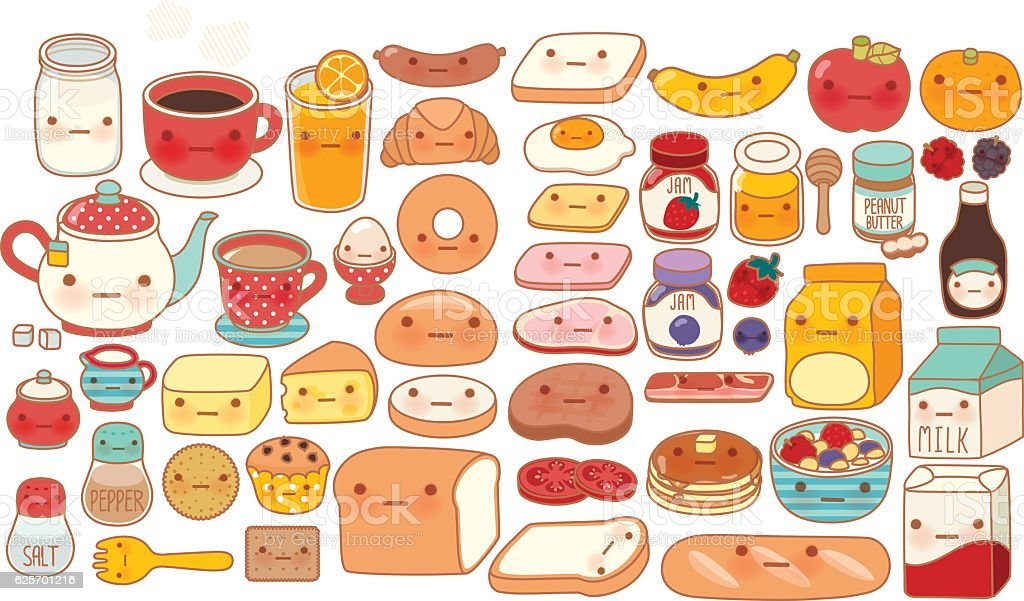 Collection of lovely baby breakfast set doodle icon vector art illustration